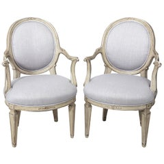 Pair of Louis XVI Style Silver Gilt Oval Back Fauteuil Armchairs