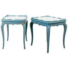 Pair of Louis XVI Style Soft Blue Painted Side Tables with Mirrored Tops