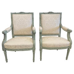 Pair of Louis XVI Style Throne or Arm Chairs, Paint Decorated Frames