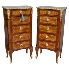 Pair of Louis XVI Style Tulipwood and Ormolu Mounted Petit Commodes