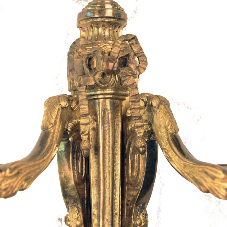 French Pair of Louis XVI Style Two Arm Gilt Bronze Wall Sconces For Sale