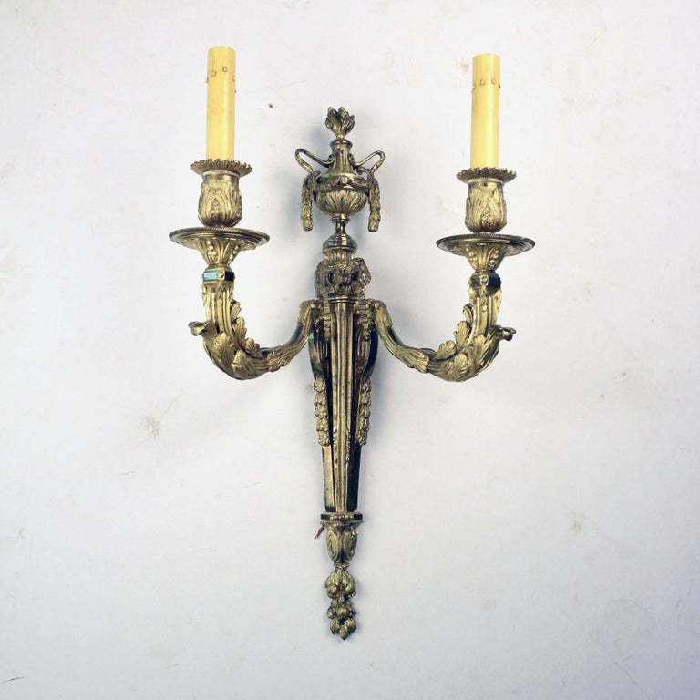 19th Century Pair of Louis XVI Style Two Arm Gilt Bronze Wall Sconces For Sale