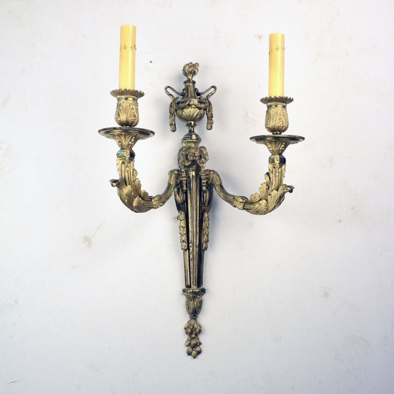 Pair of Louis XVI Style Two Arm Gilt Bronze Wall Sconces For Sale 1
