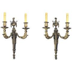 Pair of Louis XVI Style Two Arm Gilt Bronze Wall Sconces