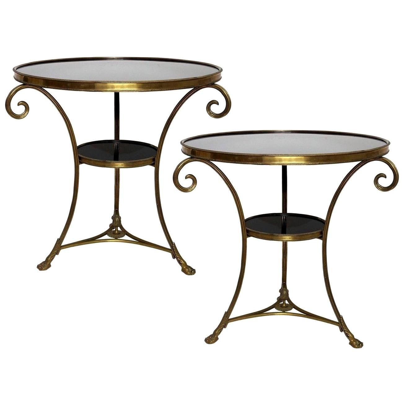Pair of Louis XVI Style Two-Tier Bronze Dore' and Marble Guéridons
