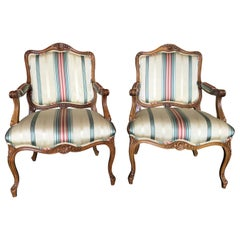 Pair of Louis XVI Style Upholstered French Armchairs, 20th Century