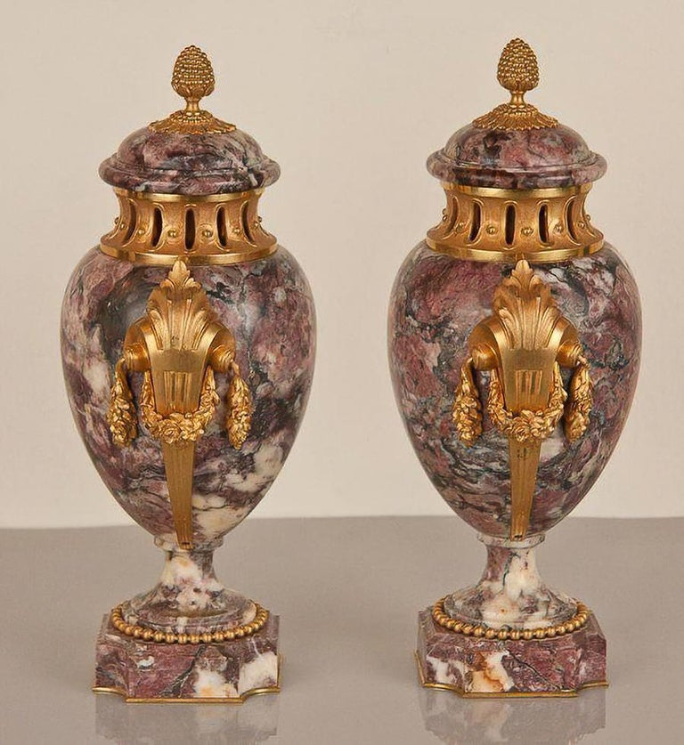 Bronze Pair of Louis XVI Style Urns For Sale