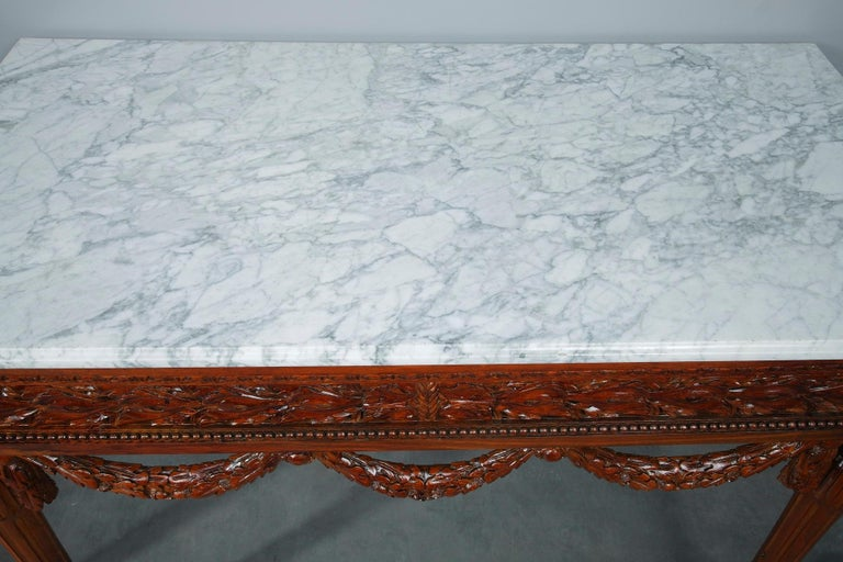 Pair of Louis XVI-Style Walnut Consoles Tables For Sale 4