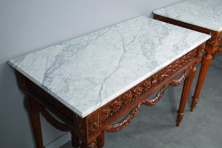 Pair of Louis XVI-Style Walnut Consoles Tables For Sale 5