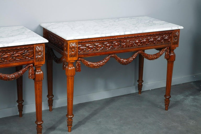 French Pair of Louis XVI-Style Walnut Consoles Tables For Sale