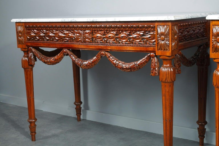Marble Pair of Louis XVI-Style Walnut Consoles Tables For Sale