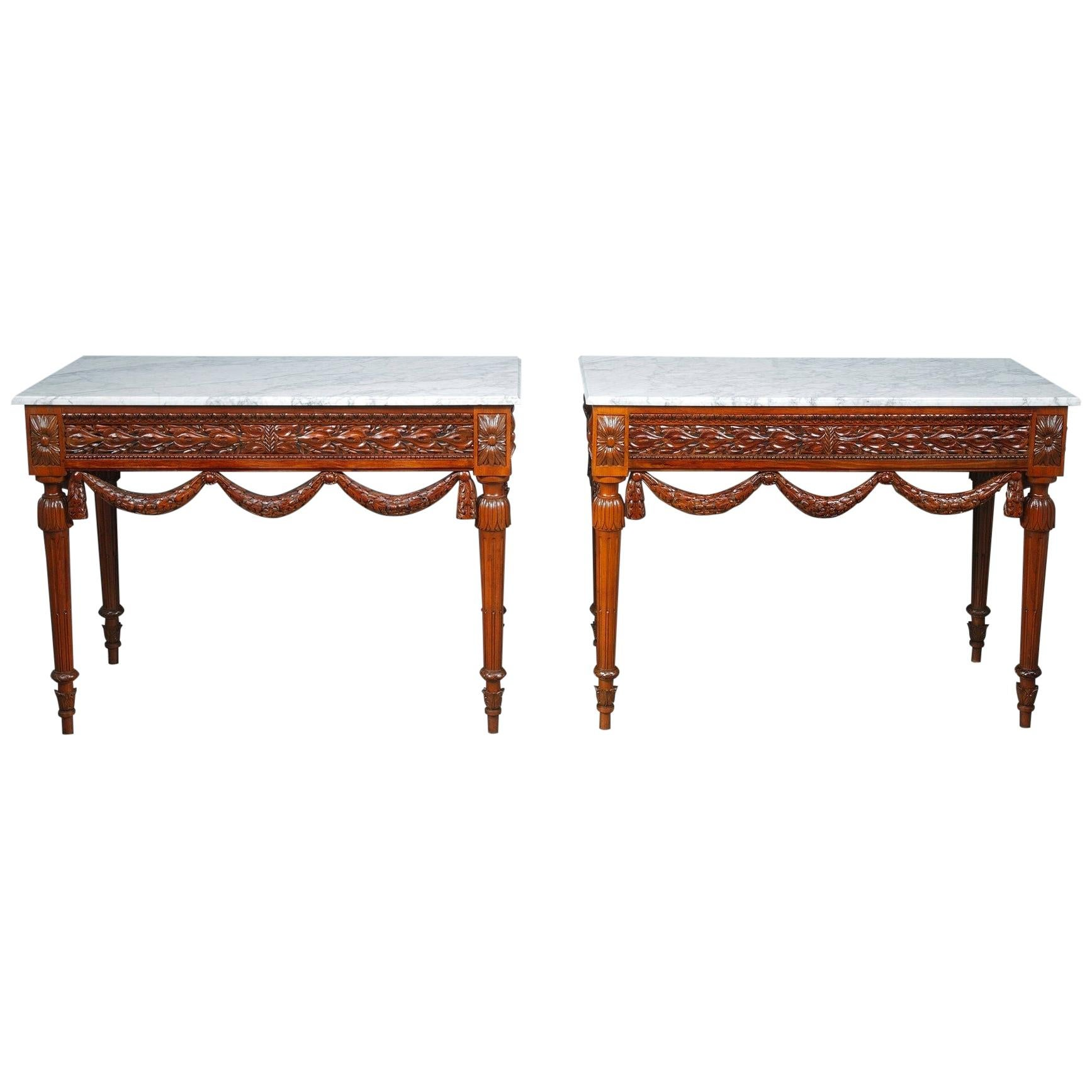 Pair of Louis XVI-Style Walnut Consoles Tables