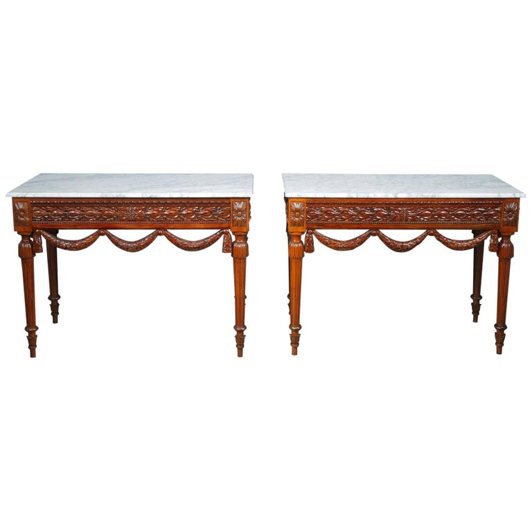 Pair of Louis XVI-Style Walnut Consoles Tables For Sale