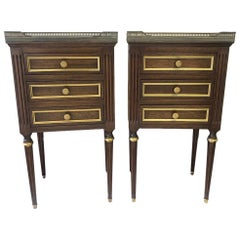 Pair of Louis XVI Style Walnut, Marble and Brass End Tables