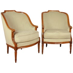 Pair of Louis XVI Walnut Bergeres or Armchairs, French, circa 1780