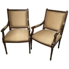 Pair of Louis XVI Walnut Chairs