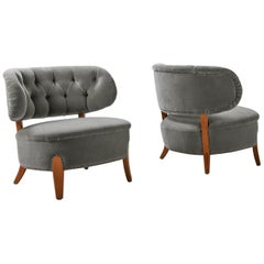 Pair of Lounge Armchairs Designed by Otto Schulz in Bespoke Mohair Velvet