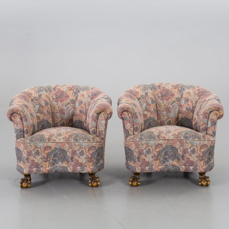 Pair of Scandinavian Modern lounge chairs with channelled backs, deep and comfortable from 1930s with