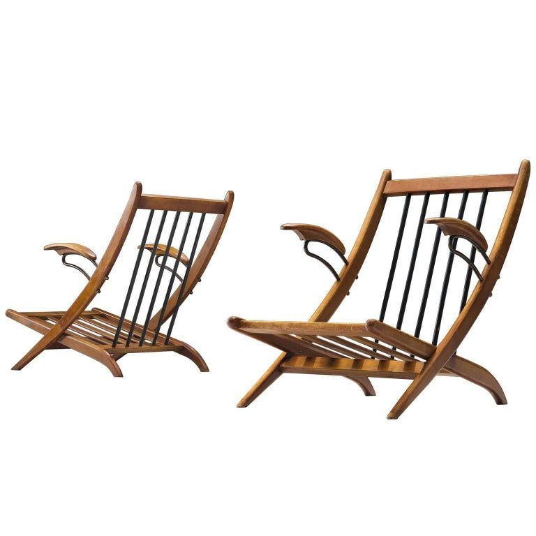 Pair of Lounge Chair Frames in Wood and Brass