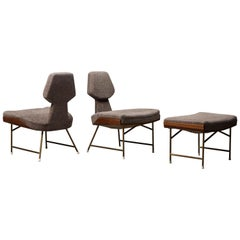 Pair of Lounge Chairs and One Ottoman by Renzo Zavanella