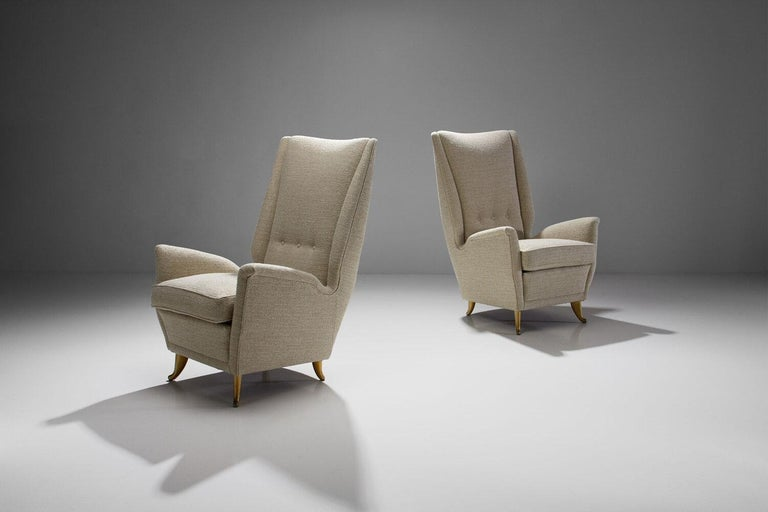 Mid-Century Modern Pair of Lounge Chairs Attributed to Gio Ponti for ISA Bergamo, Italy, 1950s For Sale