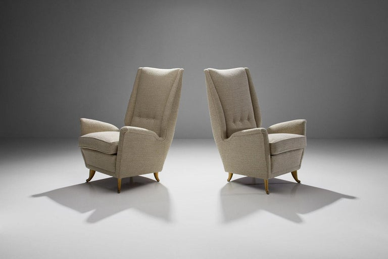 Pair of Lounge Chairs Attributed to Gio Ponti for ISA Bergamo, Italy, 1950s In Good Condition For Sale In Utrecht, NL