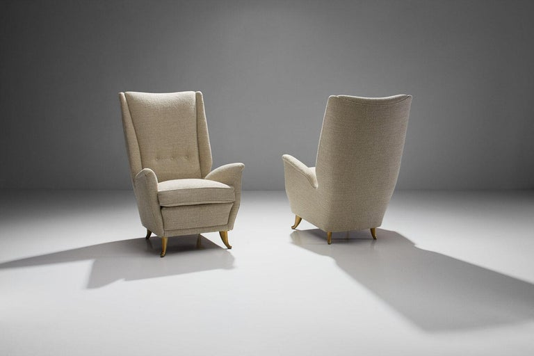 Mid-20th Century Pair of Lounge Chairs Attributed to Gio Ponti for ISA Bergamo, Italy, 1950s For Sale