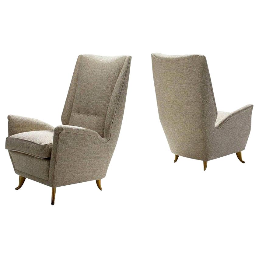 Pair of Lounge Chairs Attributed to Gio Ponti for ISA Bergamo, Italy, 1950s