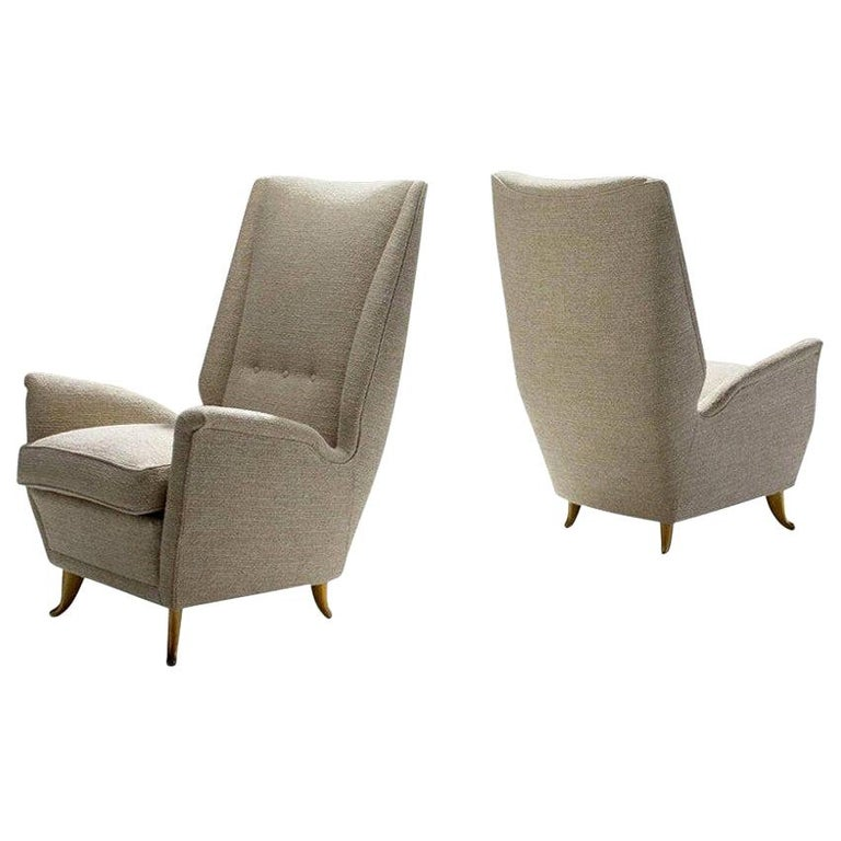 Pair of Lounge Chairs Attributed to Gio Ponti for ISA Bergamo, Italy, 1950s For Sale