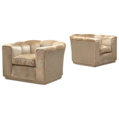 Pair of Lounge Chairs, Beige Velour, Italy, 1960s