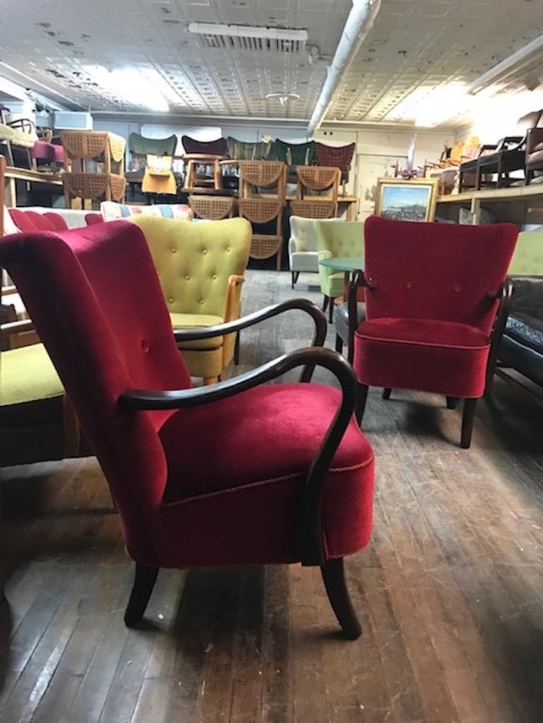 Scandinavian Modern Pair of Lounge Chairs by Alfred Christensen For Sale