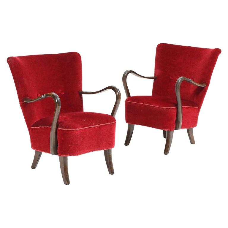 Pair of Lounge Chairs by Alfred Christensen For Sale