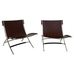 Pair of Lounge Chairs by Antonio Citterio in Chrome and Leather for Flexform