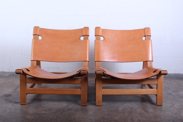 Pair of Lounge Chairs by Børge Mogensen For Sale 9