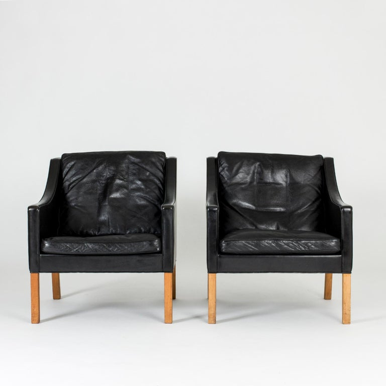 Danish Pair of Lounge Chairs by Børge Mogensen For Sale