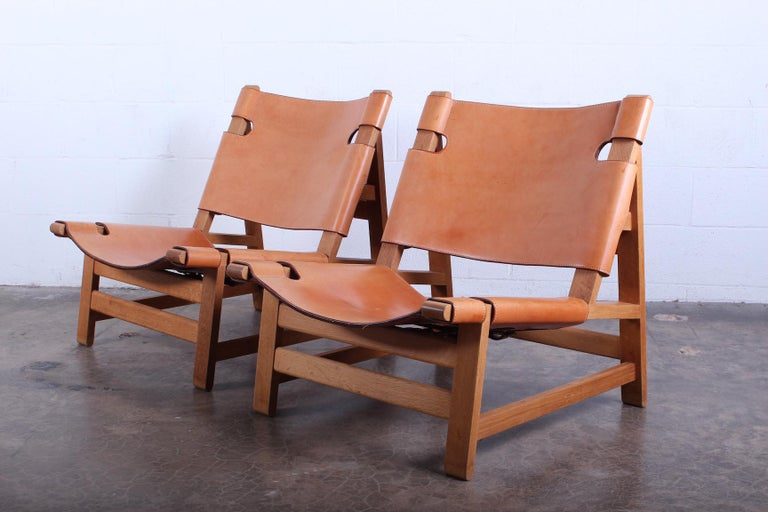 Leather Pair of Lounge Chairs by Børge Mogensen For Sale