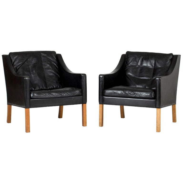 Pair of Lounge Chairs by Børge Mogensen For Sale