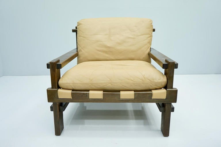 Pair of Lounge Chairs by Carl Straub Denmark 60s in Oak and Light Brown Leather For Sale 4