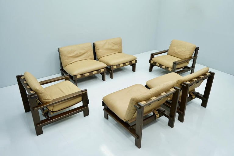 Pair of Lounge Chairs by Carl Straub Denmark 60s in Oak and Light Brown Leather For Sale 5