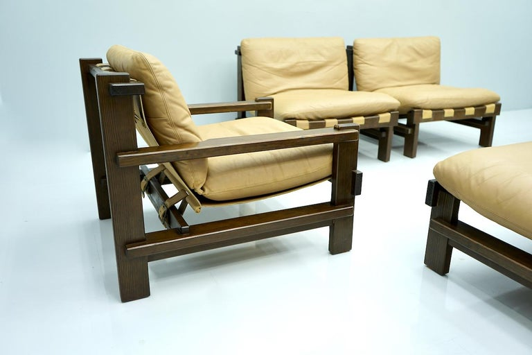 Pair of Lounge Chairs by Carl Straub Denmark 60s in Oak and Light Brown Leather For Sale 3