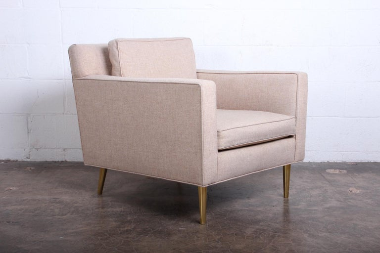 Brass Pair of Lounge Chairs by Edward Wormley for Dunbar For Sale