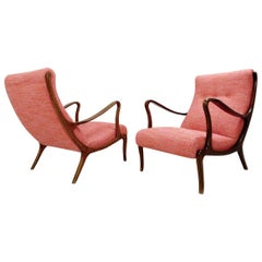 Pair of Lounge Chairs by Ezio Longhi, 1950s, New Upholstery