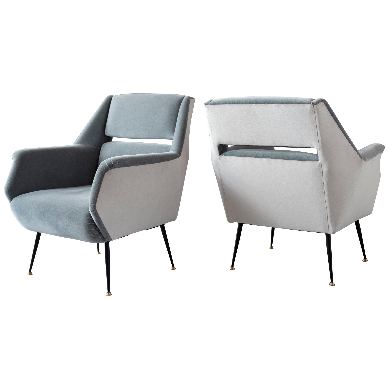 Pair of Lounge Chairs by Gigi Radice for Minotti, Upholstered in Dedar Velvet