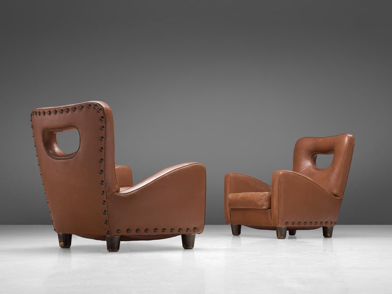 Mid-Century Modern Pair of Lounge Chairs by Giovanni Gariboldi For Sale