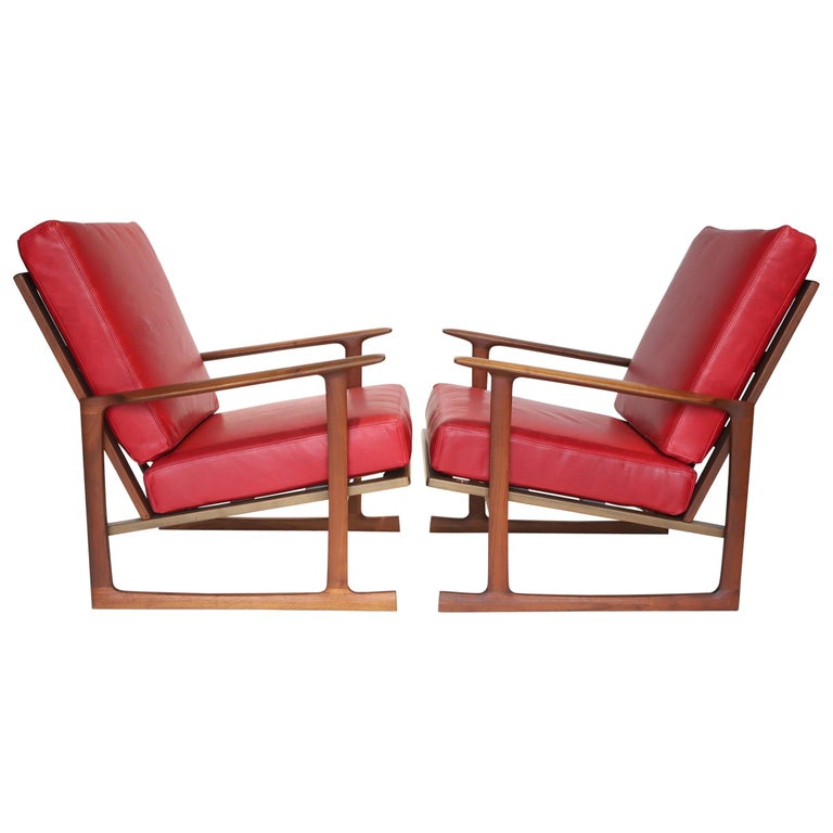 Pair of Lounge Chairs by Ib Kofod-Larsen For Sale