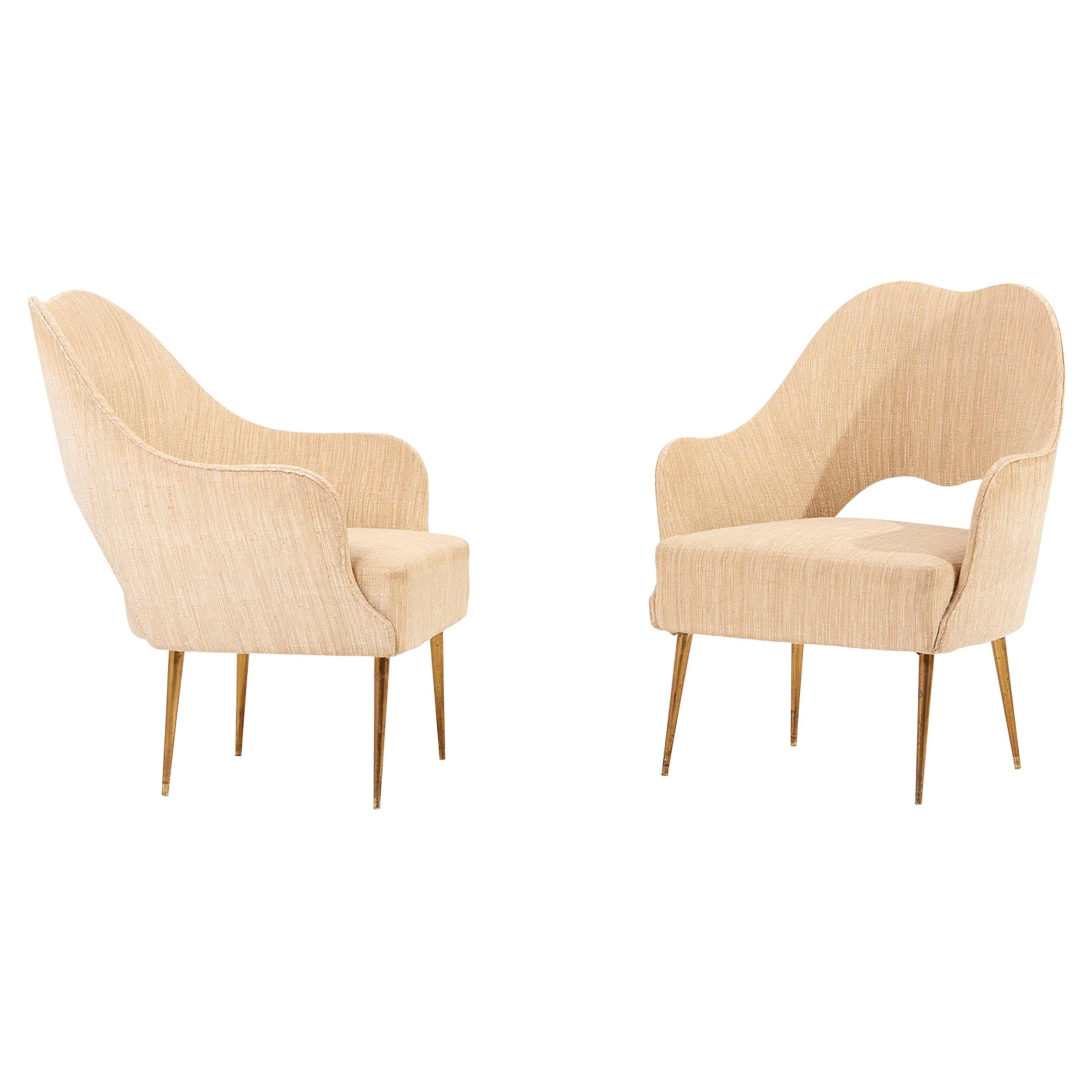 Pair of Lounge Chairs by ISA, Bergamo, Italy, 1950s