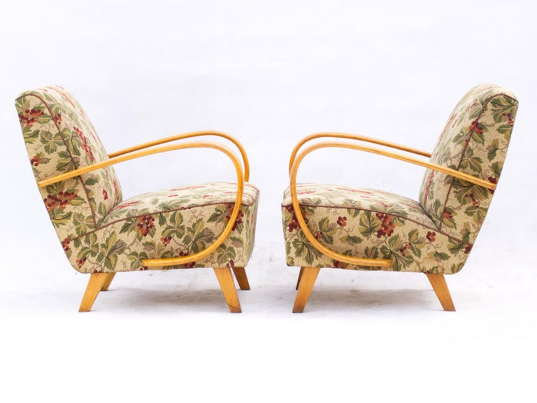 Art Deco Pair of Lounge Chairs by Jindrich Halabala for UP Zavody Brno, 1930s For Sale