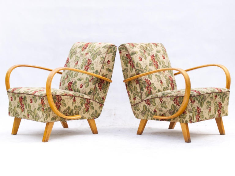 Pair of Lounge Chairs by Jindrich Halabala for UP Zavody Brno, 1930s In Good Condition For Sale In Lucenec, SK