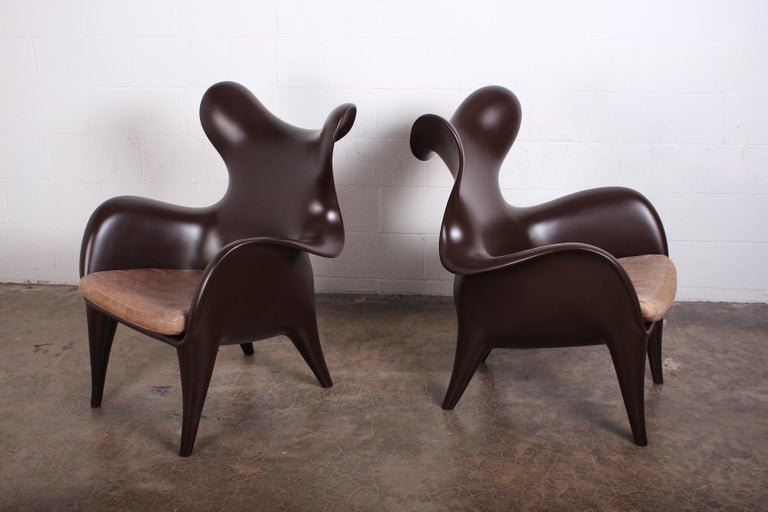 Pair of Lounge Chairs by Jordan Mozer In Good Condition For Sale In Dallas, TX