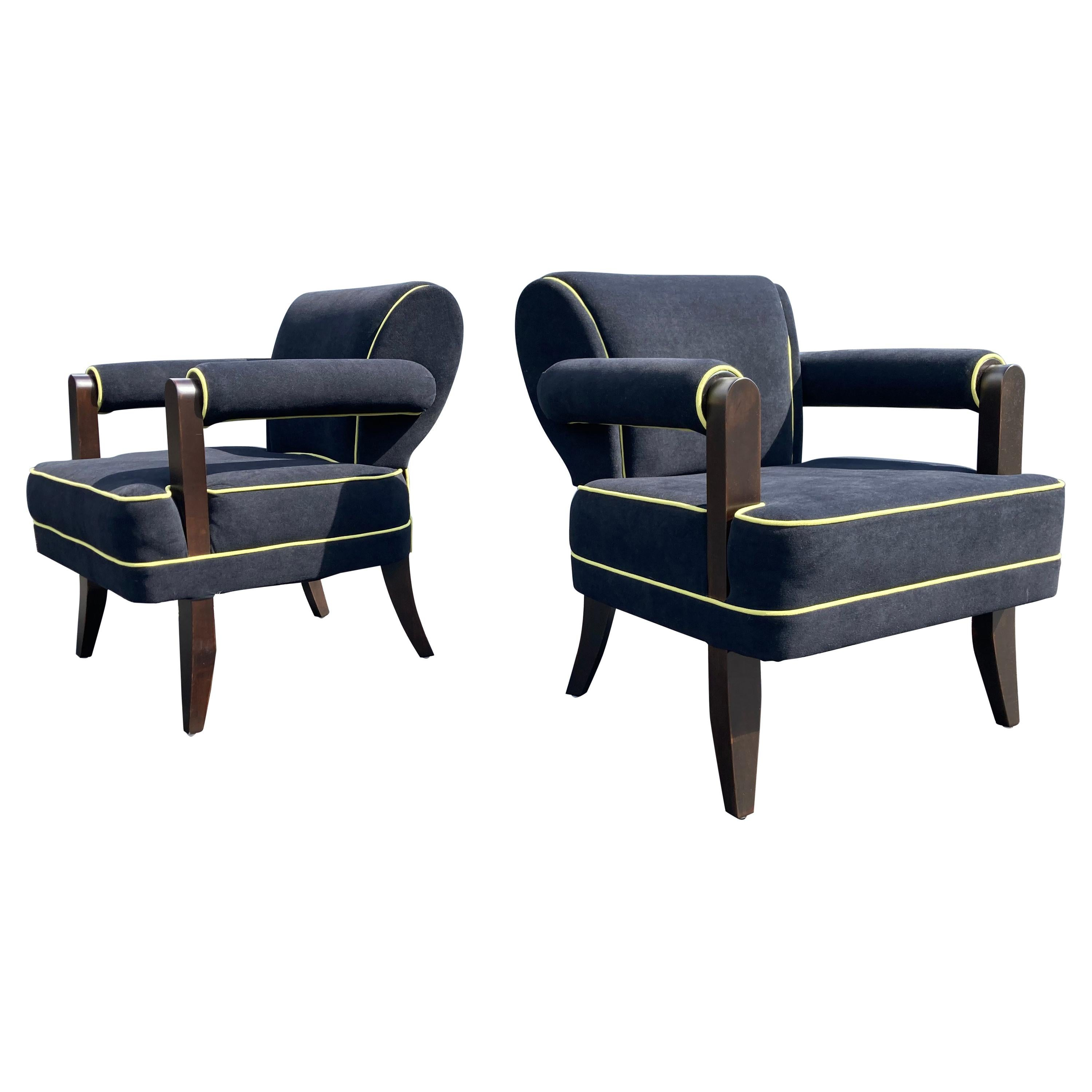 Pair of Lounge Chairs by Larry Laslo for Directional, Art Deco Style
